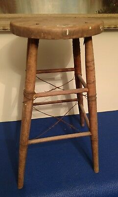 Old Primitive Antique Farm House Stool Hand made wire support