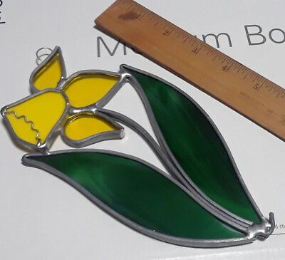 Vintage Leaded Stained Glass Suncatcher Flower Yellow Rose Green Leaves