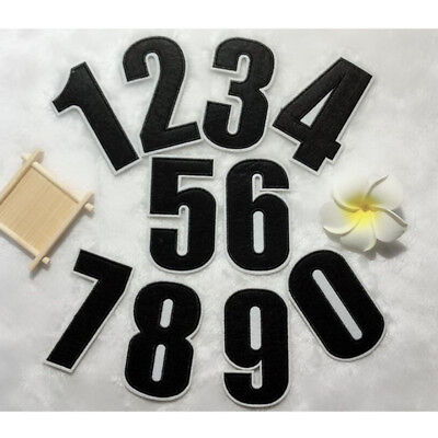 0~9 Black Numbers Embroidered Patch Sew Iron On Uniform Badge Shirt Applique DIY