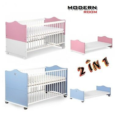 Baby Child Cot Bed Converts Into Junior Bed Free Mattress 140x70cm Pink or Blue