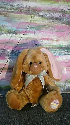 Pier 1 One Imports Plush Bunny Brown Tan Pink  Egg Easter Sewn Eyes Lovey Toy