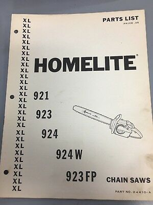 HOMELITE 921, 923, 924 /w, 923Fp Chain Saw Parts Manual