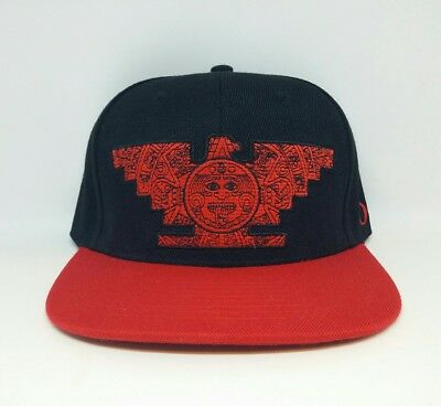 11df88b177d Mens Chicano Lowrider Hat Aztec Bird Custom Design snapback Black   Red