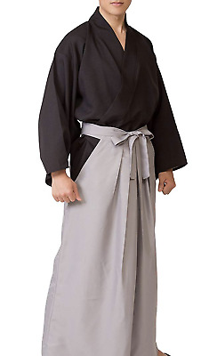 Japanese Men's Kimono Samurai Bushi Ronin Cosplay costume Jacket Hakama Set