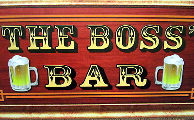 """Bar Door/wall Plaque Sign """"the Boss' Bar"""" Great Father's Day Or Birthday Gift Bn"""