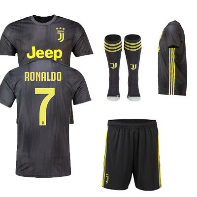 2019 Football Dark Grey Away Kit for 3-14Y Kid Soccer Jersey Suit+socks Juventus