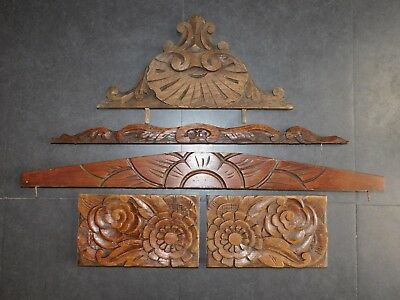 5 Ornements/frontons Anciens Bois Sculpte Deco Restauration Renovation Diy F512