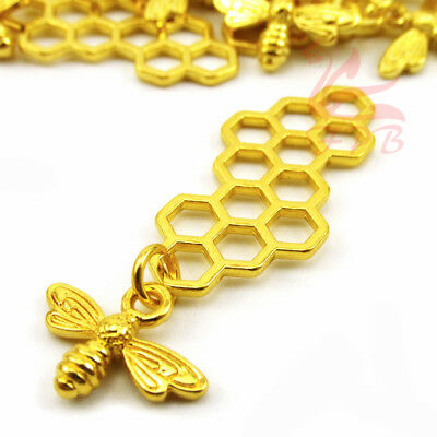 Bee Honeycomb Charms 46mm Gold Plated Beehive Pendants GC0081393 - 4/15/30PCs