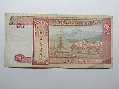 Mongolia Paper Money Currency - #55 no date 20 Togrog Horses - Well Circulated