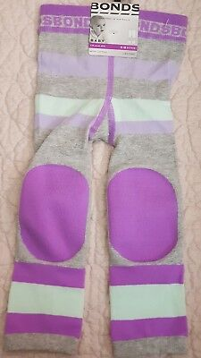 BONDS BABY CRAWLER LEGGINGS Knee Pads in lime,purple and grey size 6-18mths