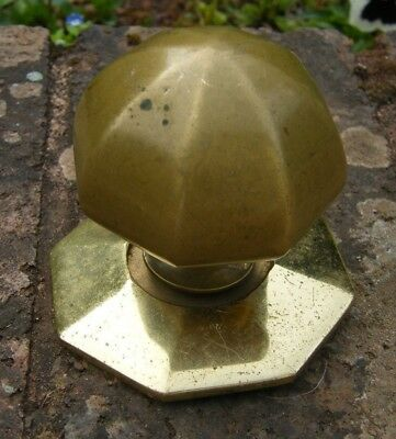 A RECLAIMED LARGE SOLID BRASS DOOR CENTRE PULL KNOB HANDLE   u08