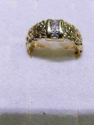 Antique 14k Yellow Gold Natural Diamond Byzantine Ring