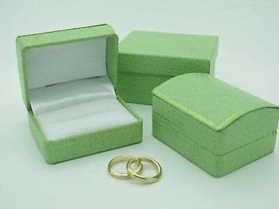 Bride Groom Ring Box Mint Green Gold Gilt Trimmed Double Wedding