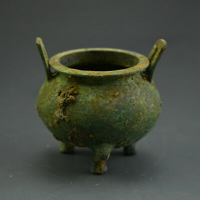 Excellent Chinese Ancient Bronze Three Feet DING Vessel 2.55""