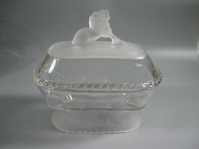 GILLINDER EAPG Frosted Glass Lion & Cable Compote Covered Dish