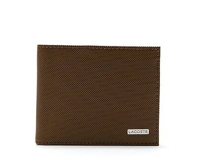Brown Lacoste Men/'s Edward Small Billfold Leather Wallet NH0988ED-709