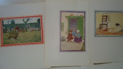 3 Vintage Little Grey Rabbit Illustrations - Colour Book Plates Rat, Mole,Rabbit