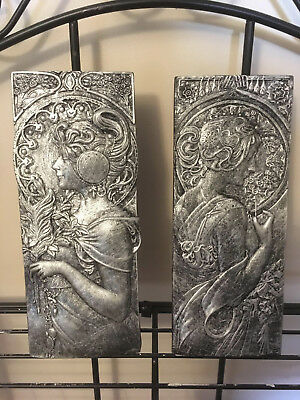 Art Nouveau Deco Style Pair of Wall Plaques Antique Silver Bronze Effect Silver