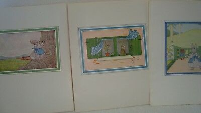 3 Vintage Little Grey Rabbit Illustrations - Colour Book Plates Rabbits