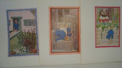 3 Vintage Little Grey Rabbit Illustrations - Colour Book Plates Rabbits Queen An