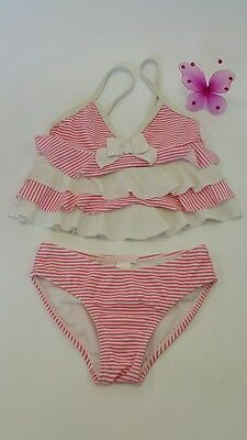 Janie and Jack 2 Piece Swimsuit Tiered Ruffle Pink White Stripes SZ 4 A40DG