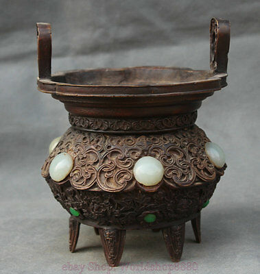 "7"" Antique Chinese Xuande Mark Bronze Exquisite Buddhism Incense Burner Censer"