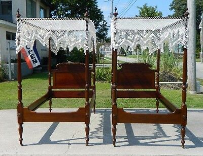 Pair~~Mahogany Centennial Twin Tall Post Beds with Canopy