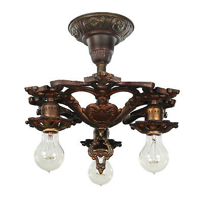 Semi-Flush Chandelier with Original Polychrome Finish, Antique Lighting, NC3143