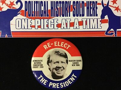 Carter Re-Elect The President 4 Inch Button. Box 6