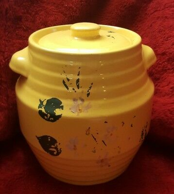 Coors Pottery RARE Yellow with Flowers & Leaves Cookie Jar Container