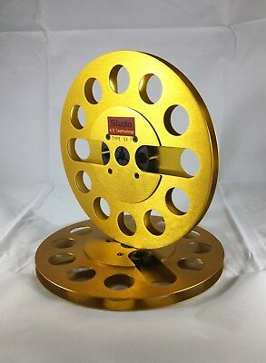 "ONE PAIR   New  7"" Anodized Aluminum  metal Reel to Reels Golden"