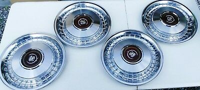 "4 Vintage 15"" Cadillac Red Emblem Wreath Crest Hubcaps SET wheel covers"