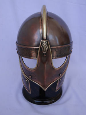 Medieval Valsgarde Armor Viking Helmet Spartan Greek Antique Finish With Stand