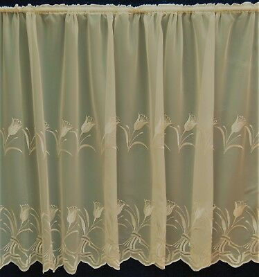 Tulip Embroidered Base Cream Voile Straight Net Curtain With Scalloped Edge