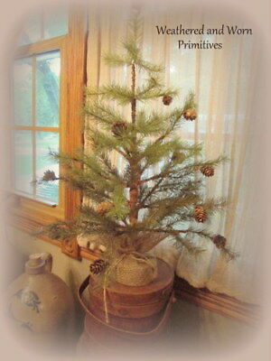 "Primitive Country 24/"" Faux Cypress Pine Christmas Tree with Burlap Base"