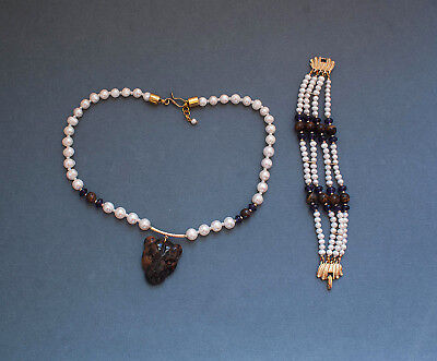 set from bracelet and necklace,pearls,amethyst,tiger's eye,Gold Plated,Ethno