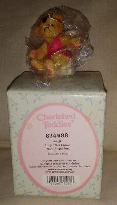 2001 Priscilla Hillman Enesco Cherished Teddies JULY ANGEL ON CLOUD #824488 NIB