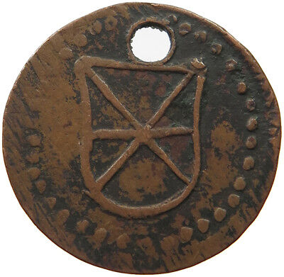 GERMAN STATES COPPER COIN SIX POINTED STAR IN SHIELD 24MM  #px 015