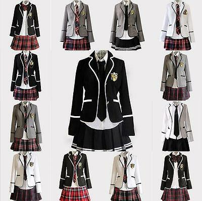 New Womens Girls slim fit dress school uniform Japanese coat skirt suits cosplay