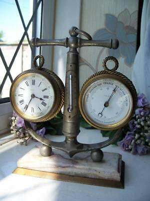 QUALITY FRENCH CLOCK & BAROMETER DESK SET c1880 4 SPARES OR REPAIRS
