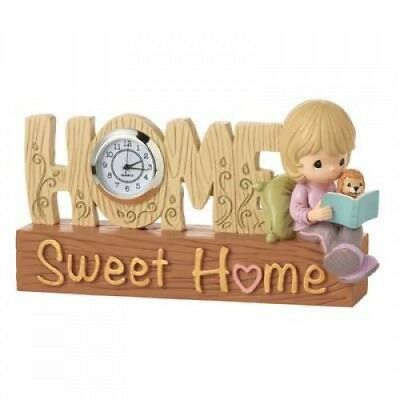"Precious Moments ""Home Sweet Home Tabletop Clock"" 154425 Girl Reading with Puppy"