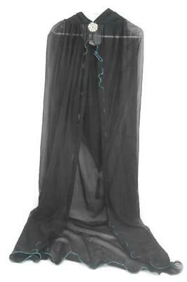 One Size Long Black Sheer Teal Glitter Trim Cape Halloween Costume