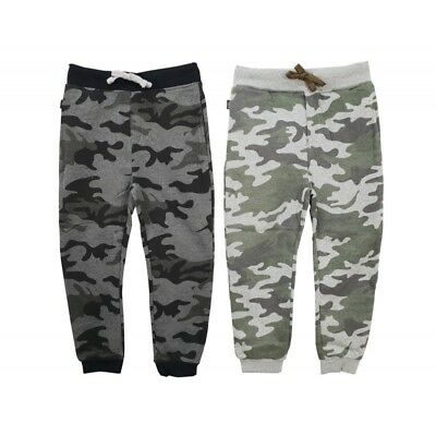 Boys Army Camo Joggers Kids Camouflage Bottoms Trousers Green Grey New Age 2-14