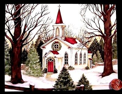 SUSAN WINGET  Church Snow Chapel Trees Wreath *GLITTERED*  Christmas Card UNUSED