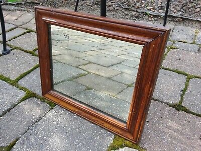 Antique 1930's American Beveled Mirror in Original Red Stain and Original Glass