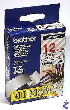 Brother TZe-232 Laminated 12mm x 8m - Red printing on White Tape
