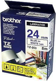 Brother TZ-253 Laminated 24mm x 8m - Blue printing on White Tape