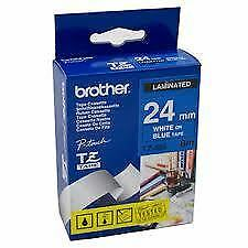 Brother TZ-555 Laminated 24mm x 8m - White printing on Blue Tape