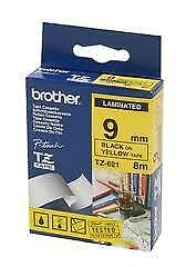 Brother TZe-621 Laminated 9mm x 8m - Black printing on Yellow Tape