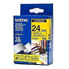 Brother TZ-651 Laminated 24mm x 8m - Black printing on Yellow Tape